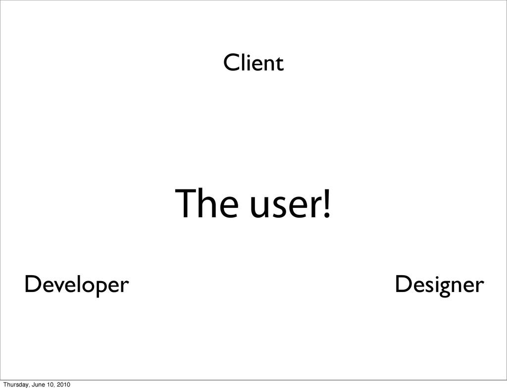 The user! Client Developer Designer Thursday, J...