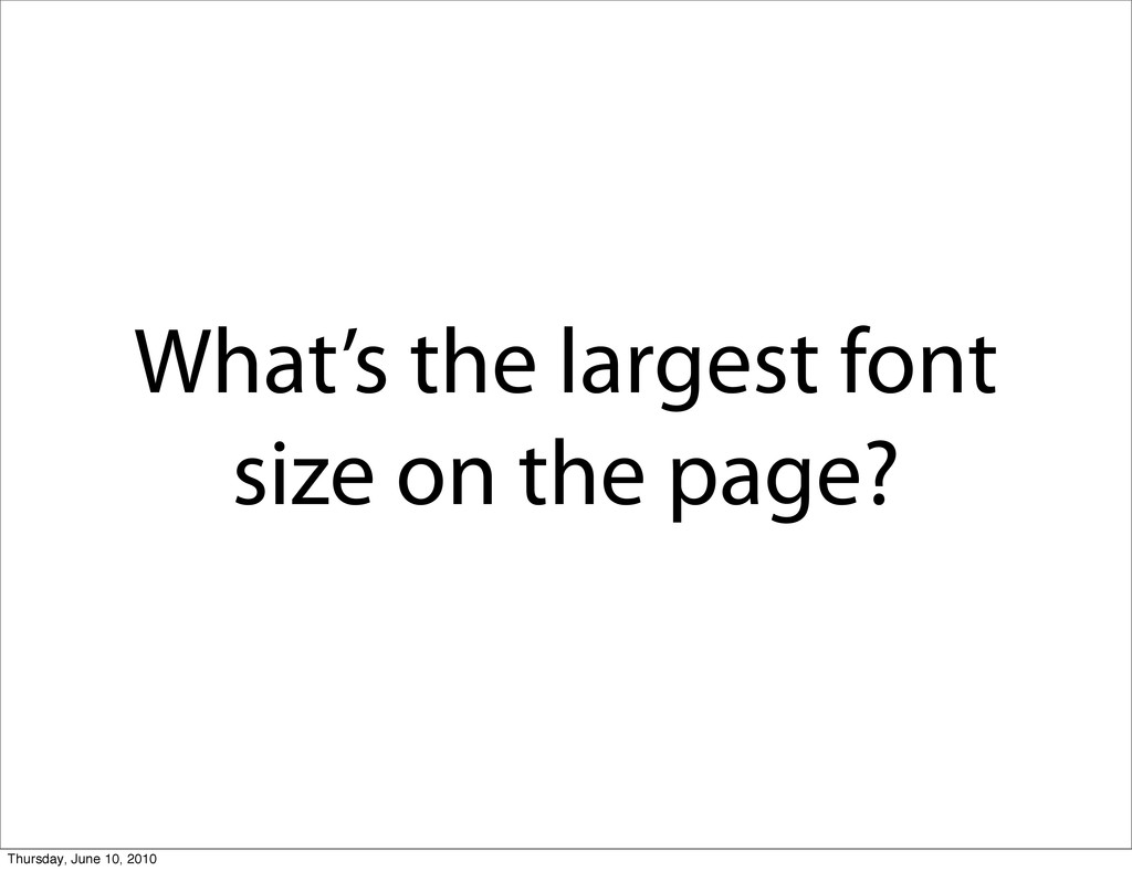 What's the largest font size on the page? Thurs...