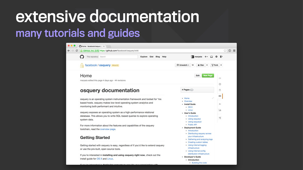 many tutorials and guides extensive documentati...