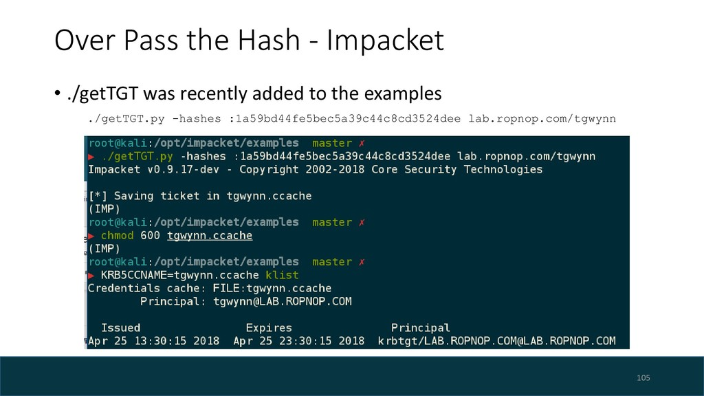 Over Pass the Hash - Impacket • ./getTGT was re...