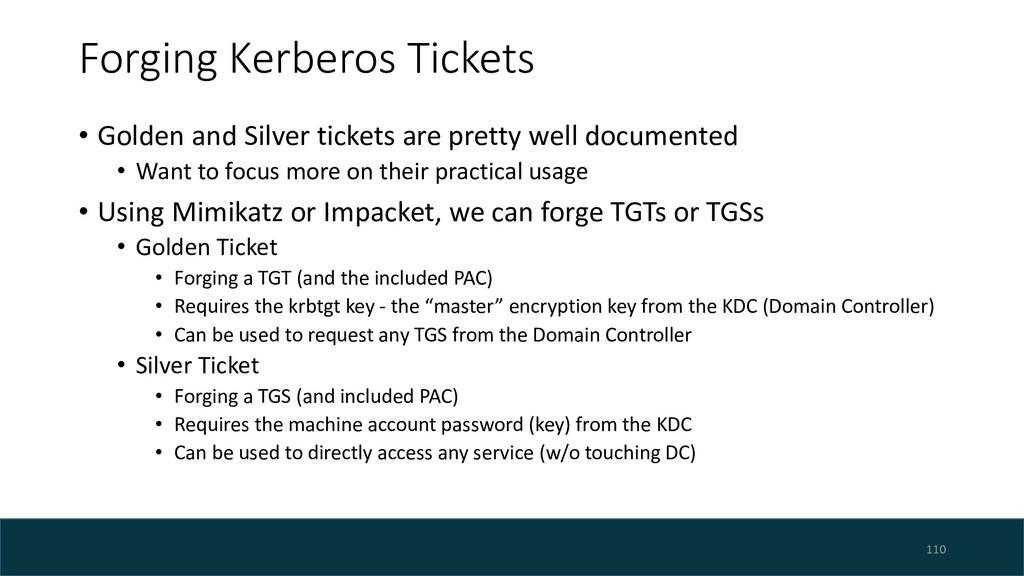 Forging Kerberos Tickets • Golden and Silver ti...