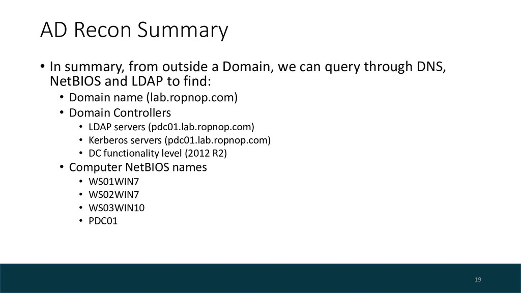 AD Recon Summary • In summary, from outside a D...