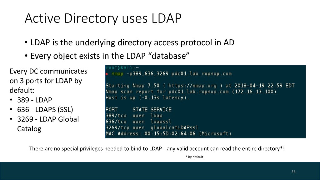 Active Directory uses LDAP • LDAP is the underl...