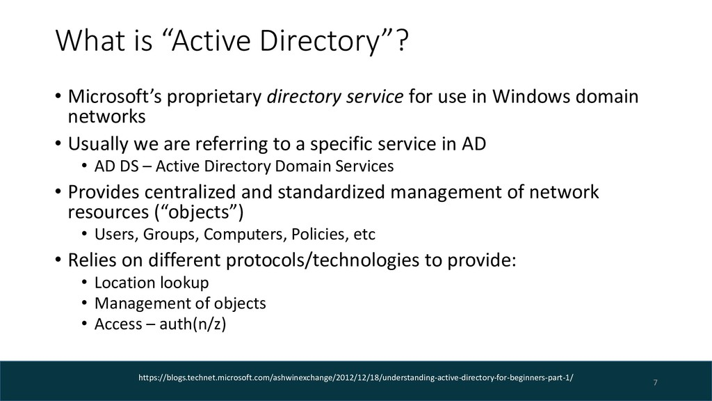 """What is """"Active Directory""""? • Microsoft's propr..."""