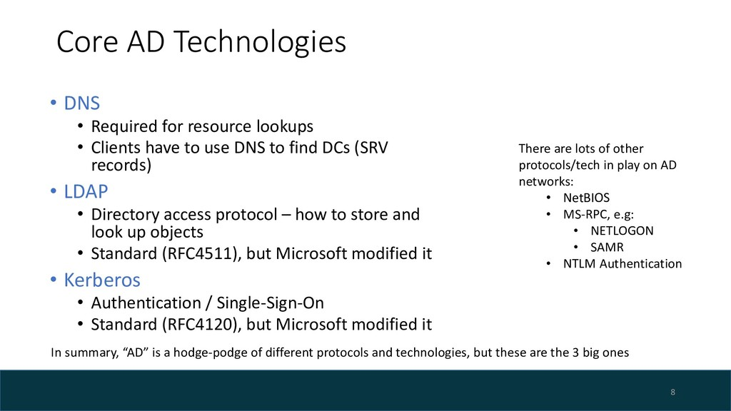 Core AD Technologies • DNS • Required for resou...