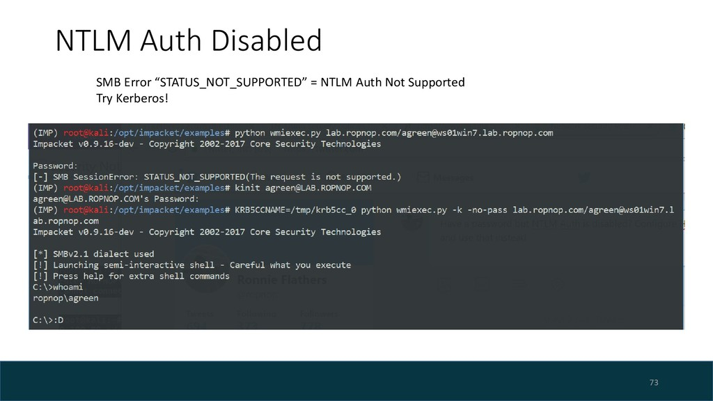 """NTLM Auth Disabled 73 SMB Error """"STATUS_NOT_SUP..."""