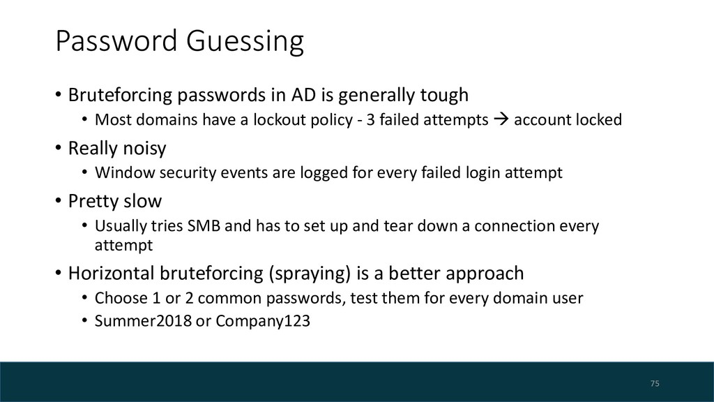 Password Guessing • Bruteforcing passwords in A...