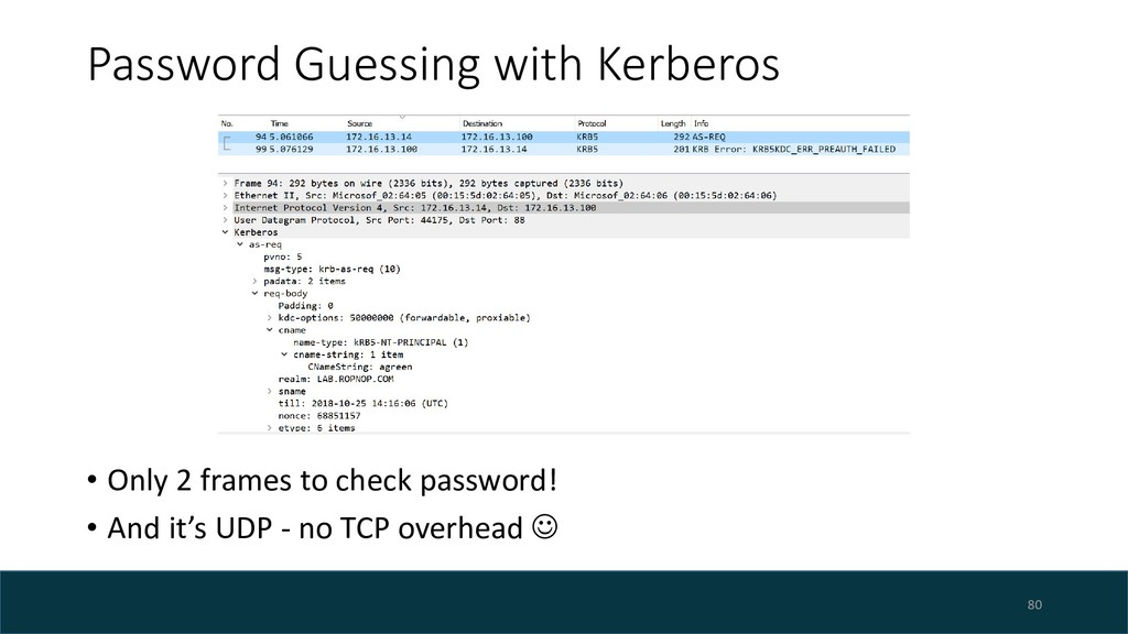 Password Guessing with Kerberos • Only 2 frames...