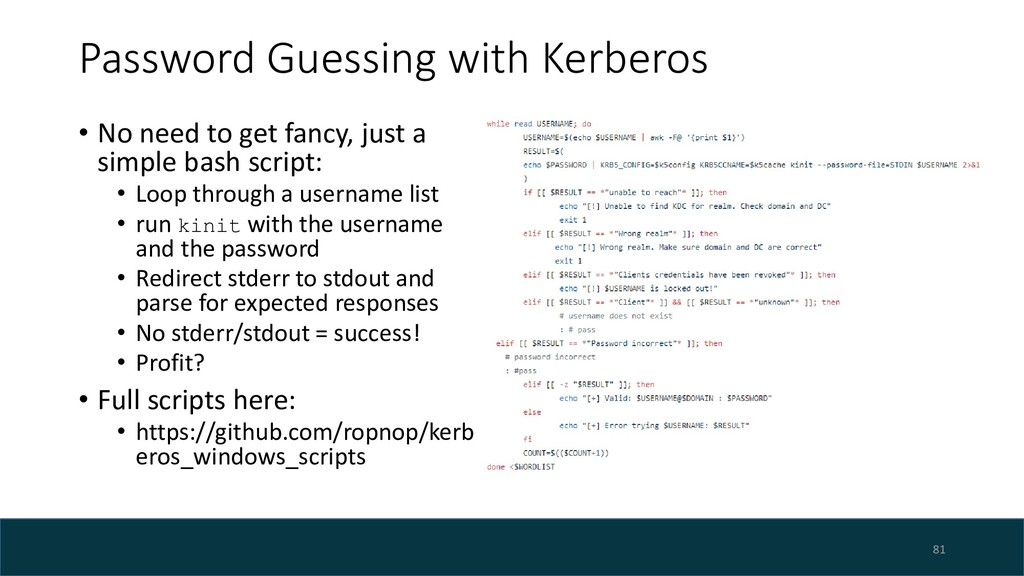 Password Guessing with Kerberos • No need to ge...