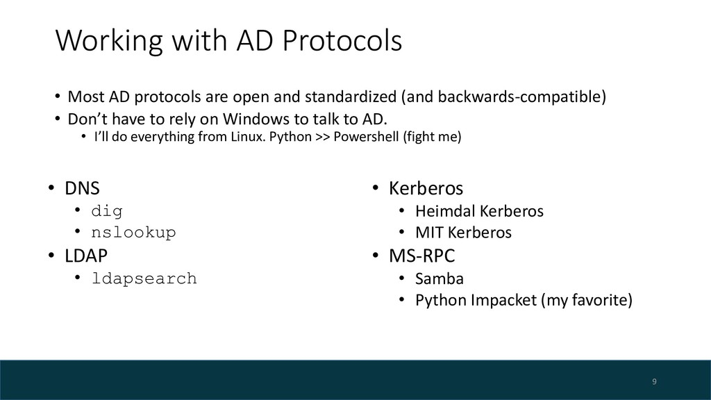 Working with AD Protocols • Most AD protocols a...