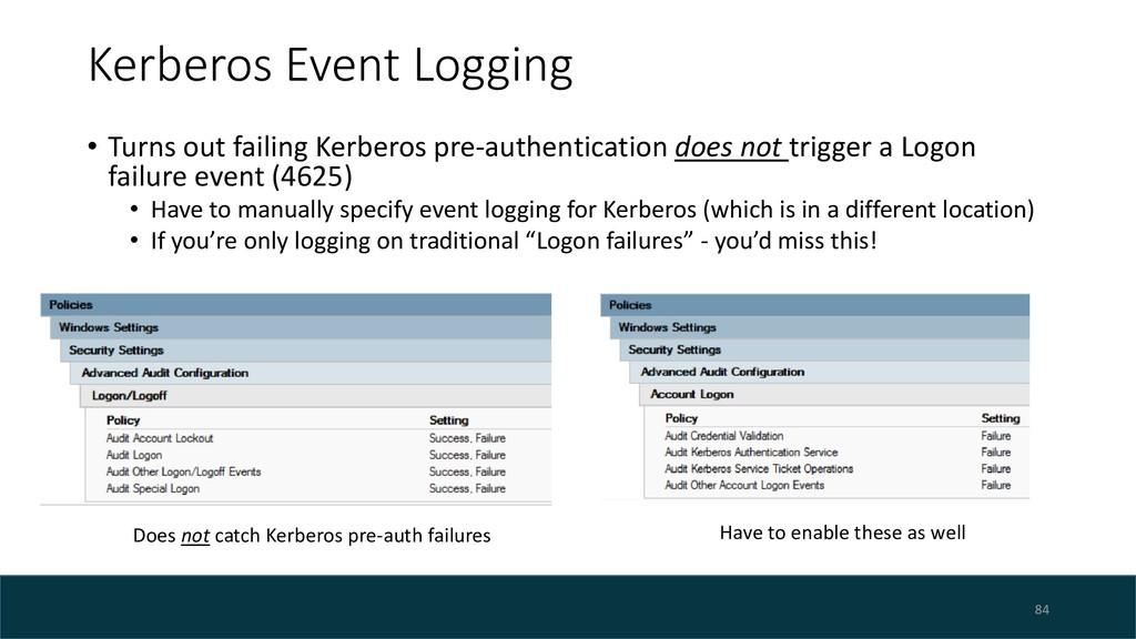 Kerberos Event Logging • Turns out failing Kerb...