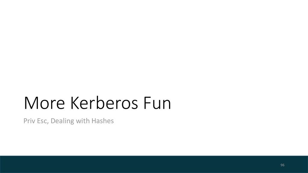 More Kerberos Fun Priv Esc, Dealing with Hashes...
