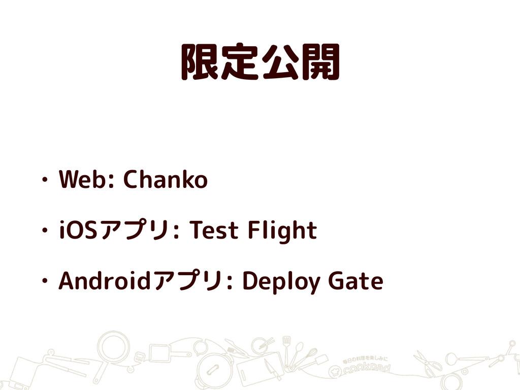 限定公開 • Web: Chanko • iOSアプリ: Test Flight • Andr...