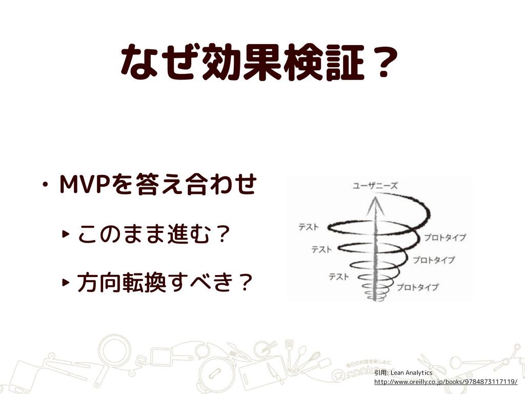 なぜ効果検証? • MVPを答え合わせ ‣ このまま進む? ‣ 方向転換すべき? 引用: Le...