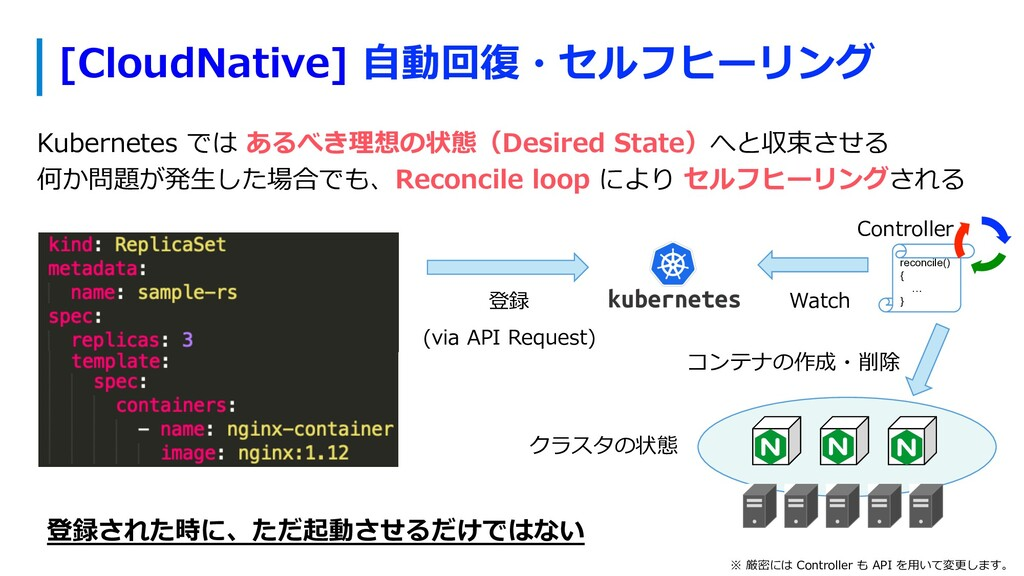 [CloudNative] ⾃動回復・セルフヒーリング Kubernetes では あるべき理...