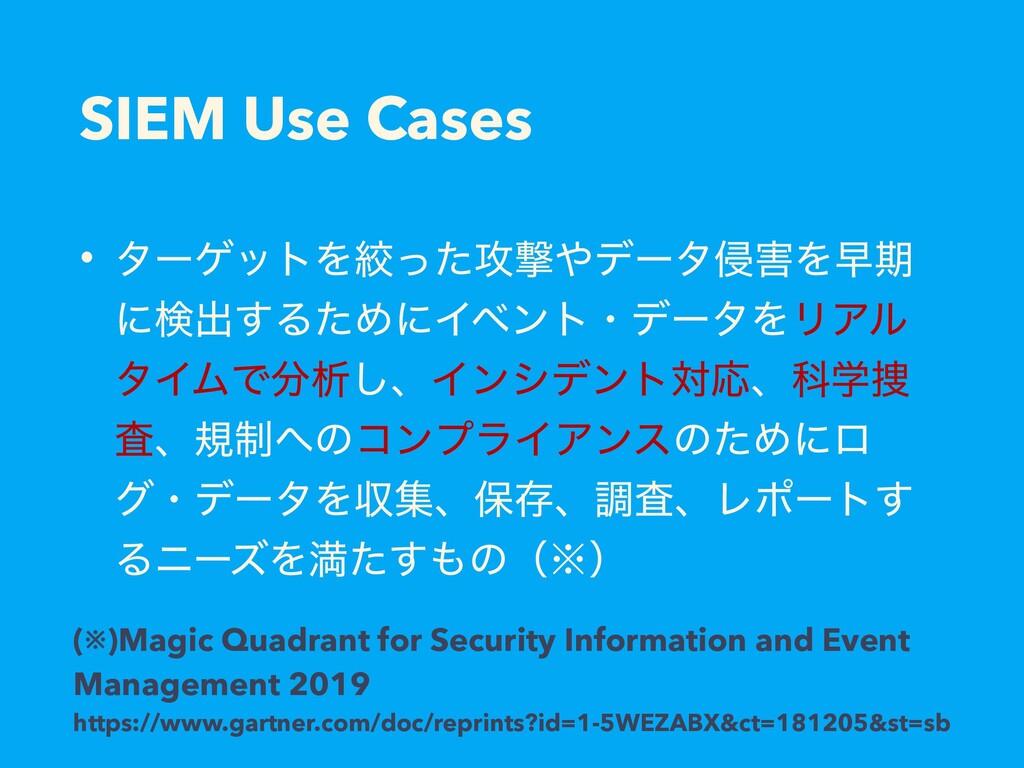 SIEM Use Cases • λʔήοτΛߜͬͨ߈ܸσʔλ৵Λૣظ ʹݕग़͢ΔͨΊʹΠ...
