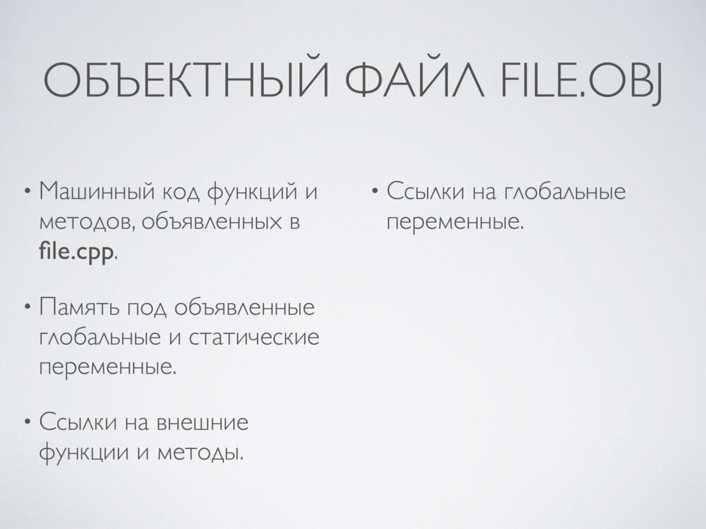 ОБЪЕКТНЫЙ ФАЙЛ FILE.OBJ • Машинный код функций ...