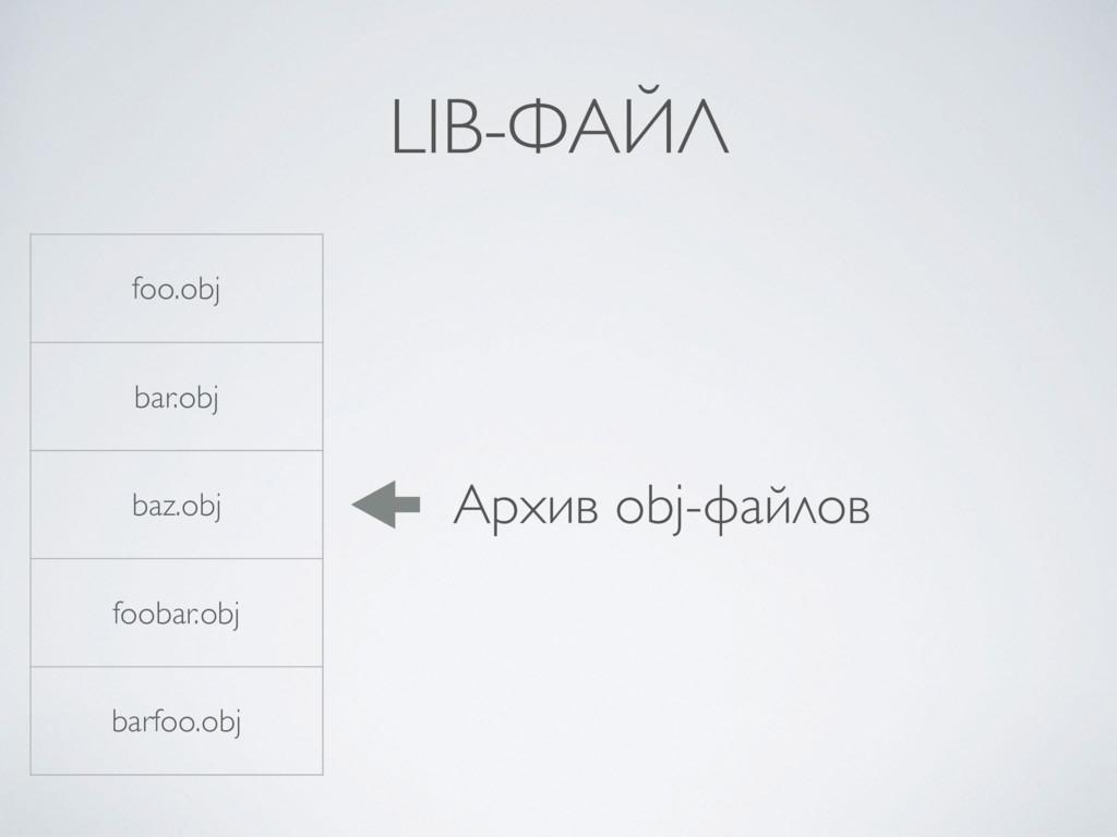 LIB-ФАЙЛ foo.obj bar.obj baz.obj foobar.obj bar...