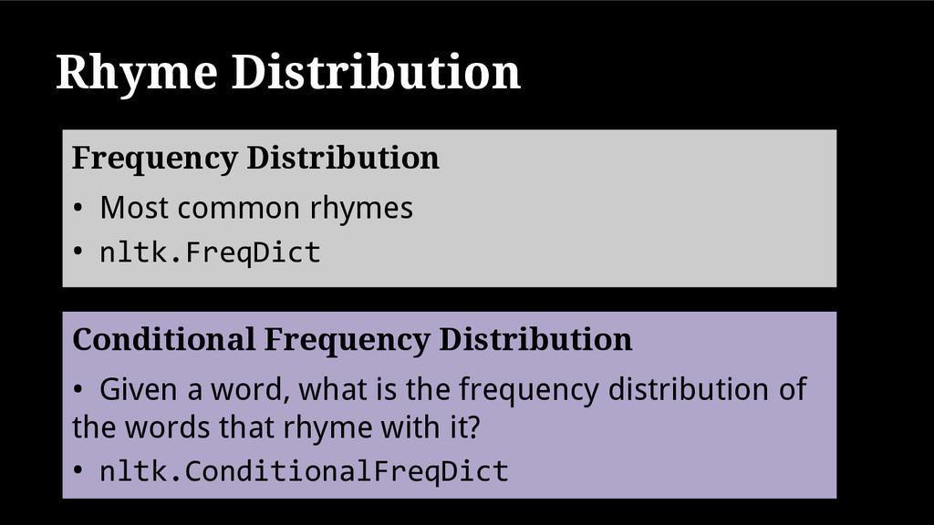 Rhyme Distribution • Most common rhymes • nltk....
