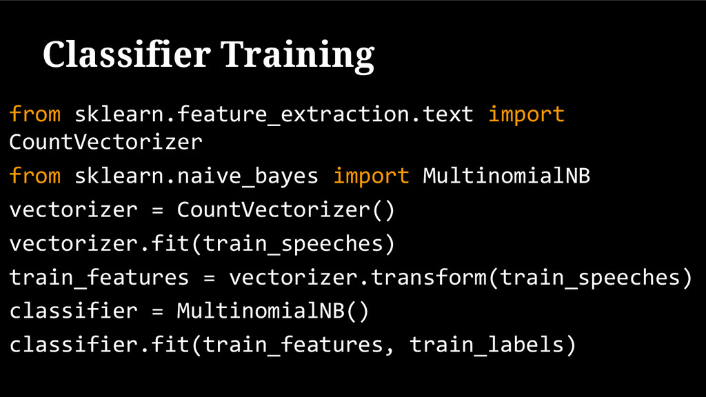 Classifier Training from sklearn.feature_extrac...