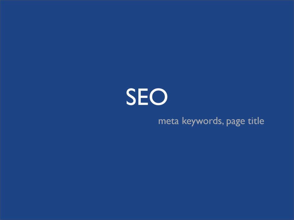 SEO meta keywords, page title