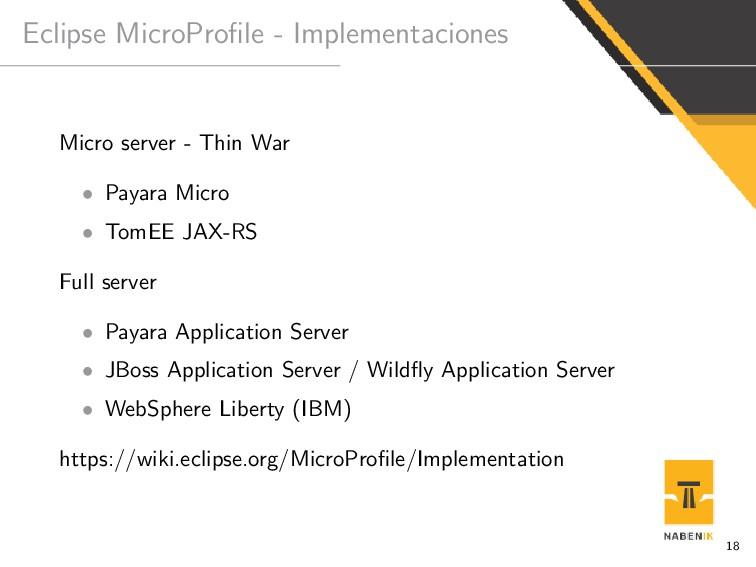 Eclipse MicroProfile - Implementaciones Micro se...