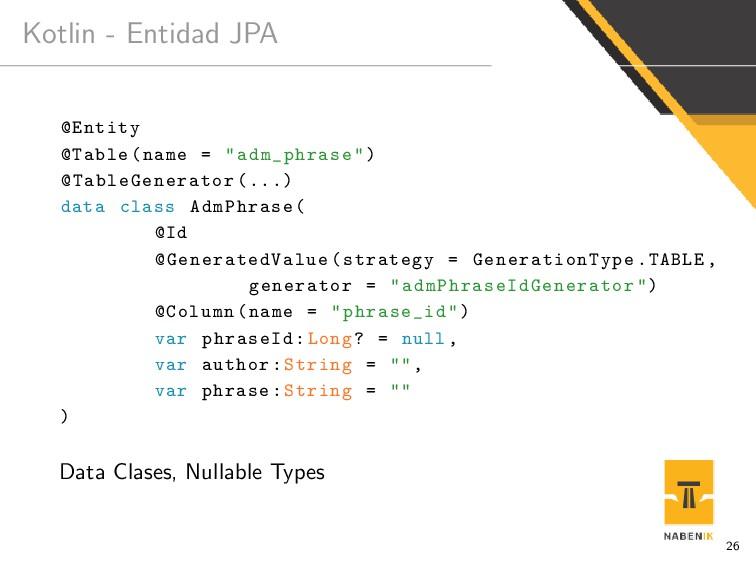 """Kotlin - Entidad JPA @Entity @Table(name = """"adm..."""