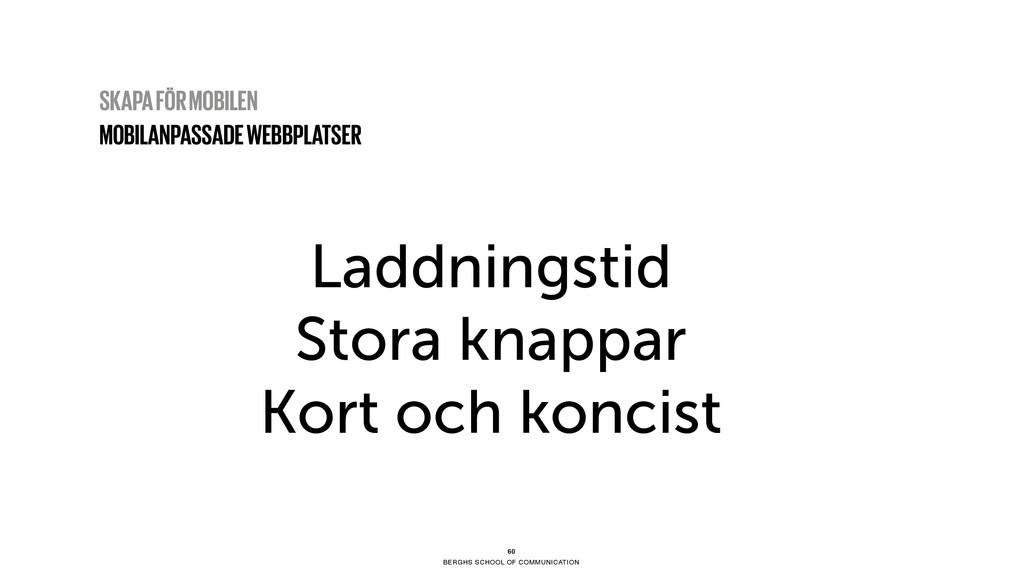 BERGHS SCHOOL OF COMMUNICATION Laddningstid Sto...