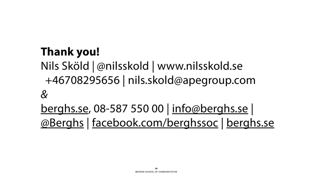 BERGHS SCHOOL OF COMMUNICATION 68 Thank you! Ni...