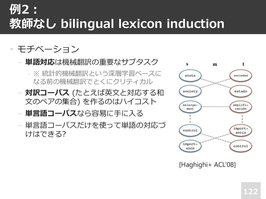例2︓ 教師なし bilingual lexicon induction 122 • モチベー...