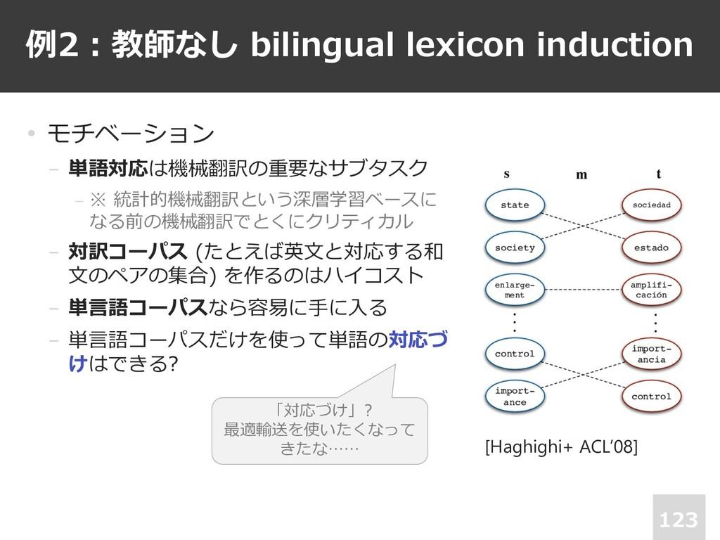 例2︓教師なし bilingual lexicon induction 123 • モチベーシ...