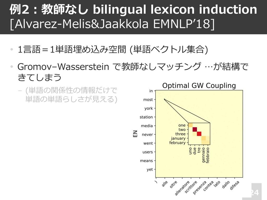 例2︓教師なし bilingual lexicon induction [Alvarez-Me...