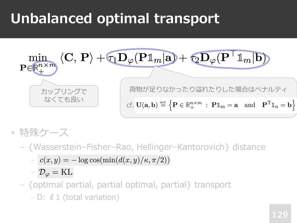 Unbalanced optimal transport 129 • 特殊ケース − {Was...