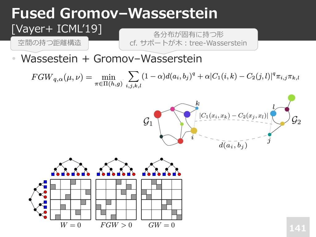 Fused Gromov–Wasserstein [Vayer+ ICML'19] 141 •...
