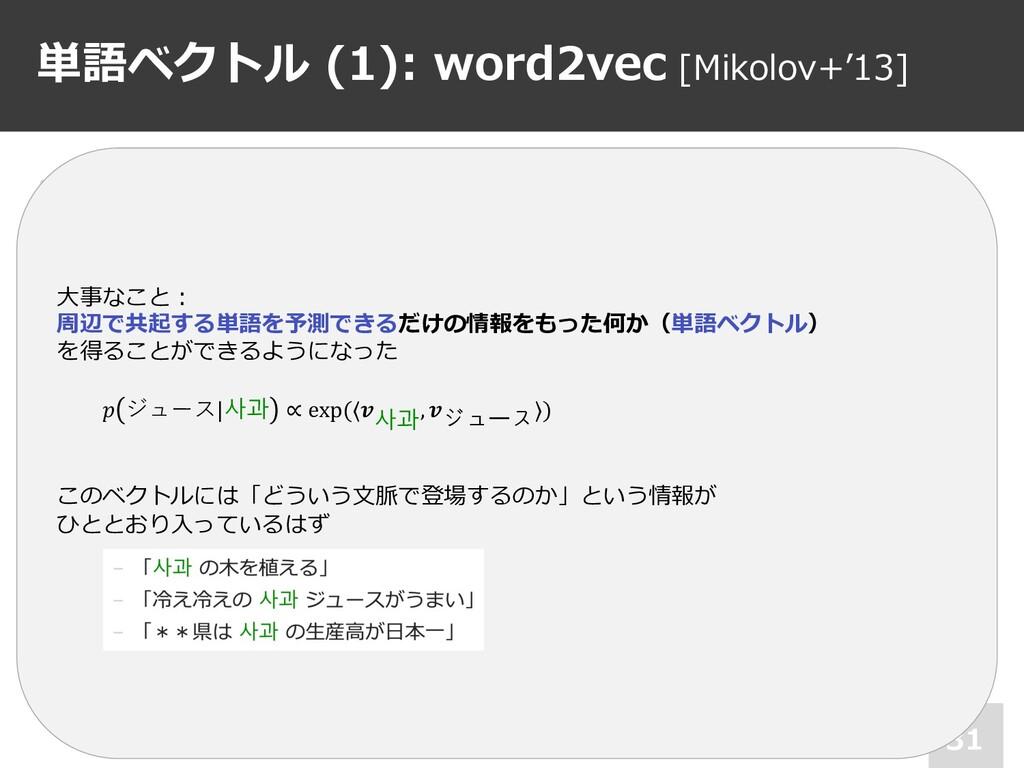 単語ベクトル (1): word2vec [Mikolov+'13] 31 • 3層ニューラル...