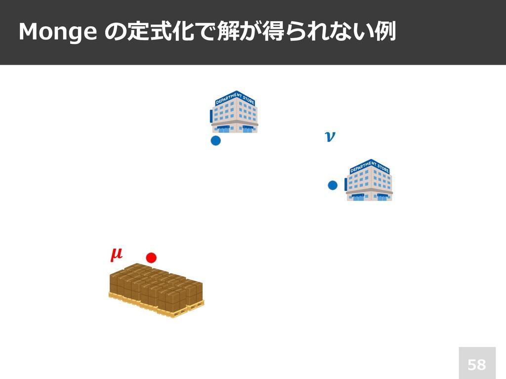 Monge の定式化で解が得られない例 58 𝝁 𝝂