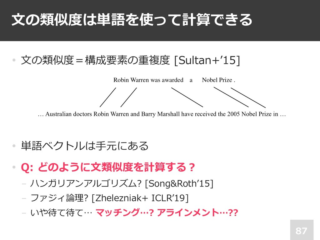 • ⽂の類似度=構成要素の重複度 [Sultan+'15] • 単語ベクトルは⼿元にある • ...