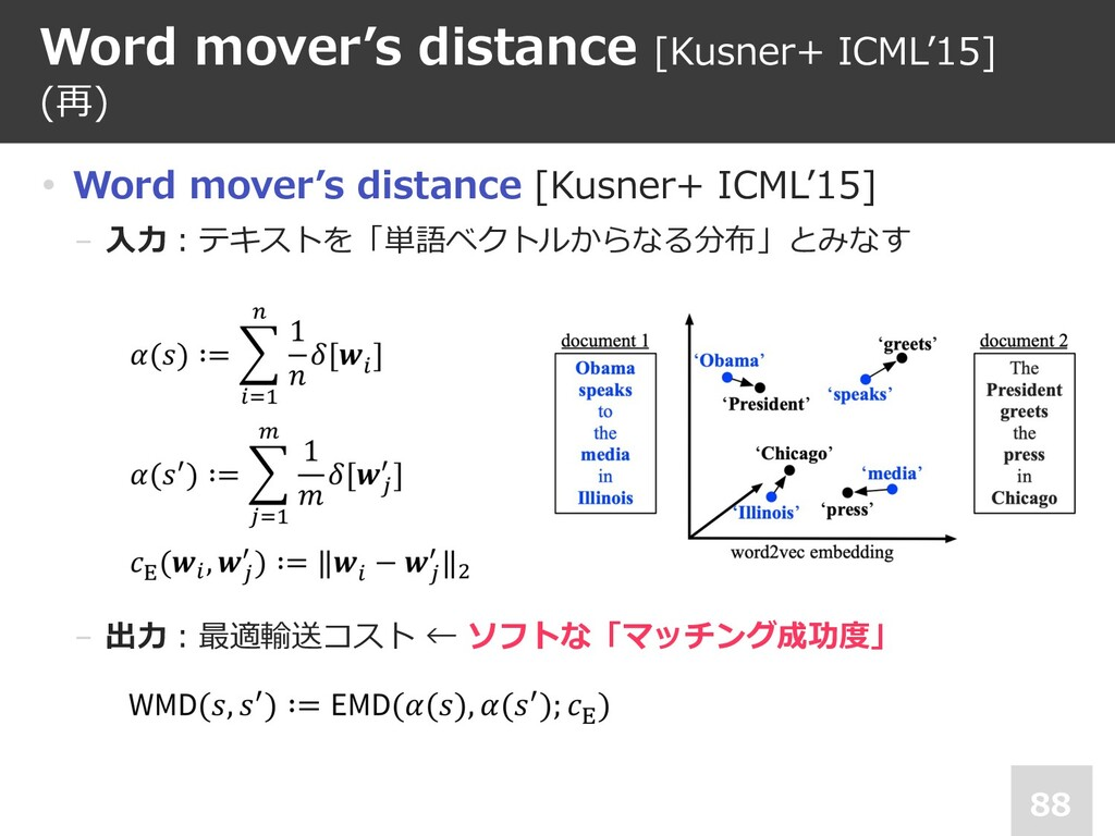 Word mover's distance [Kusner+ ICML'15] (再) 88 ...
