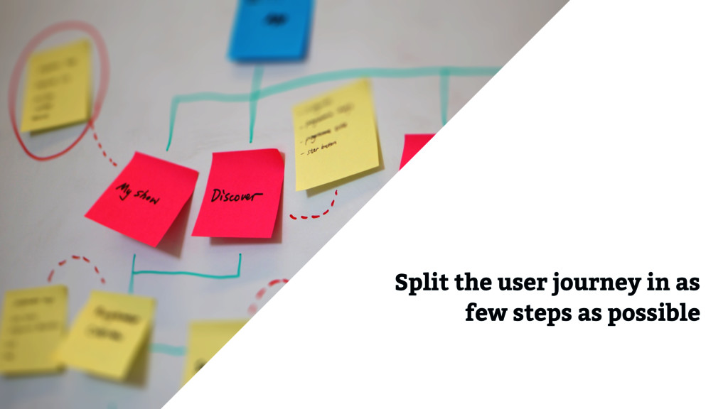 Split the user journey in as few steps as possi...