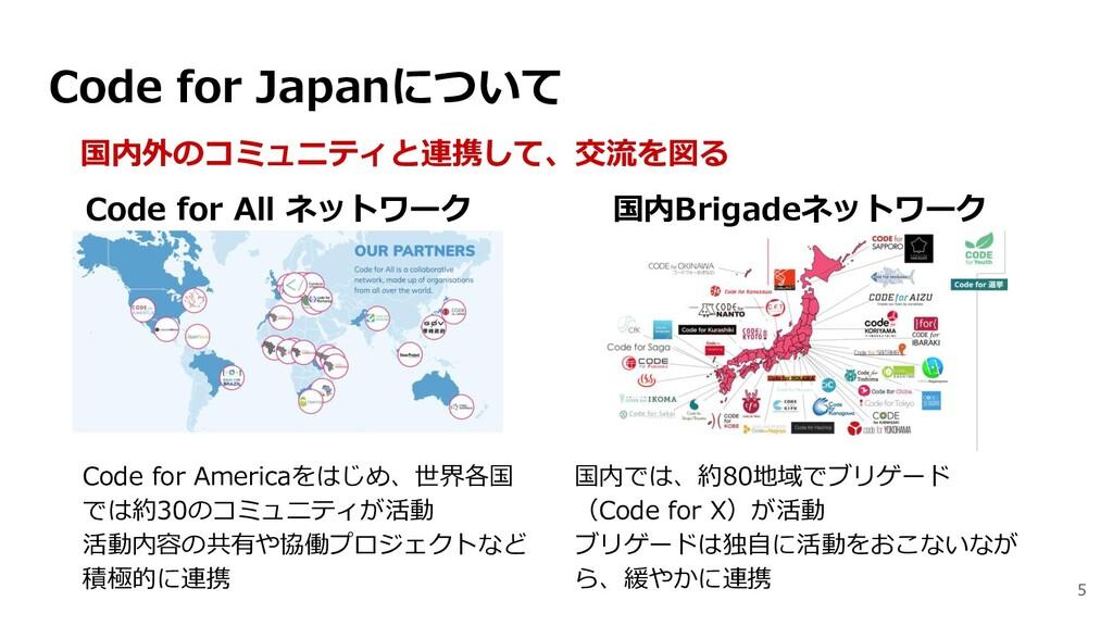 5 国内外のコミュニティと連携して、交流を図る Code for All ネットワーク 国内B...