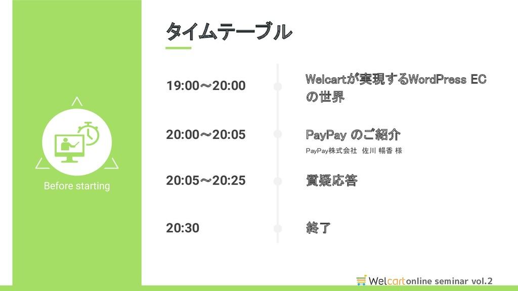 online seminar vol.2 タイムテーブル Before starting W...