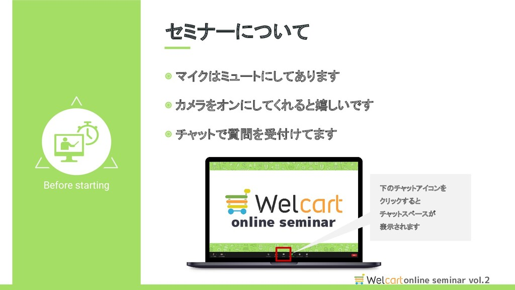 online seminar vol.2 セミナーについて Before starting ...