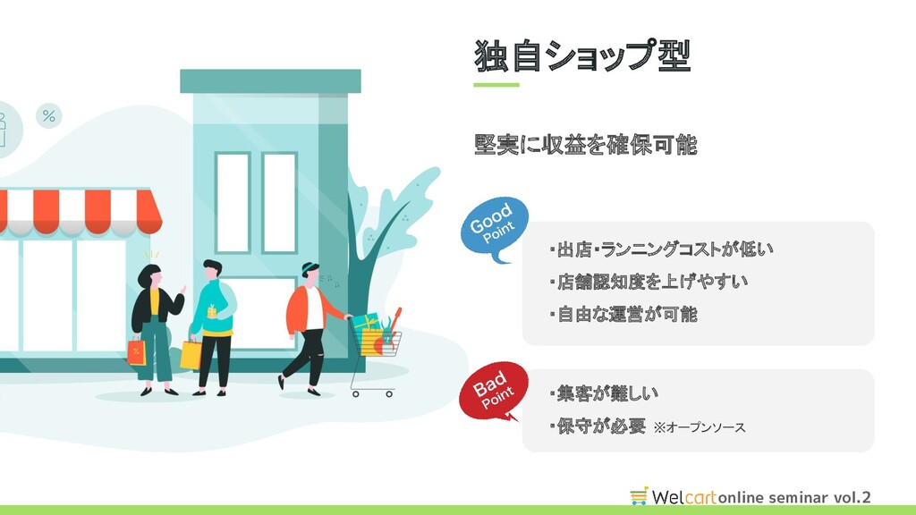 online seminar vol.2 堅実に収益を確保可能 ・出店・ランニングコストが低い...