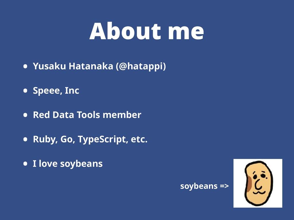 About me • Yusaku Hatanaka (@hatappi) • Speee, ...