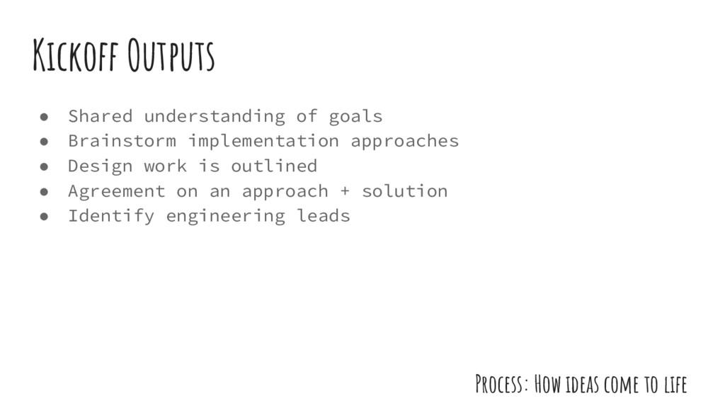 ● Shared understanding of goals ● Brainstorm im...
