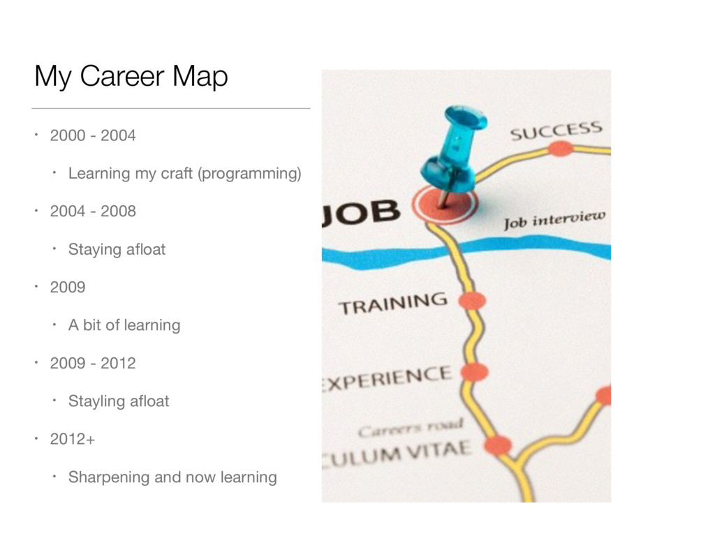 My Career Map • 2000 - 2004  • Learning my craf...