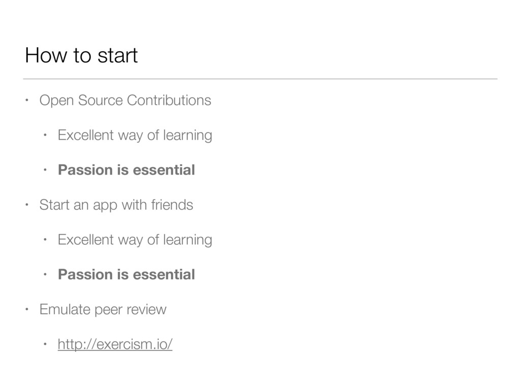 How to start • Open Source Contributions • Exce...
