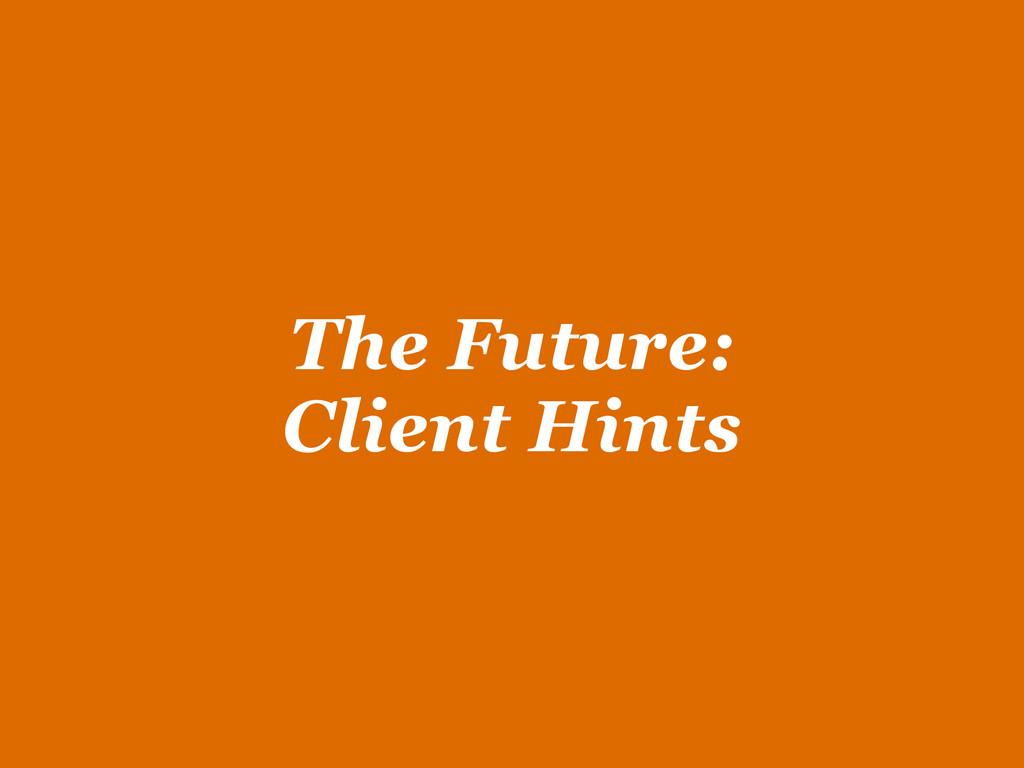 The Future:  Client Hints