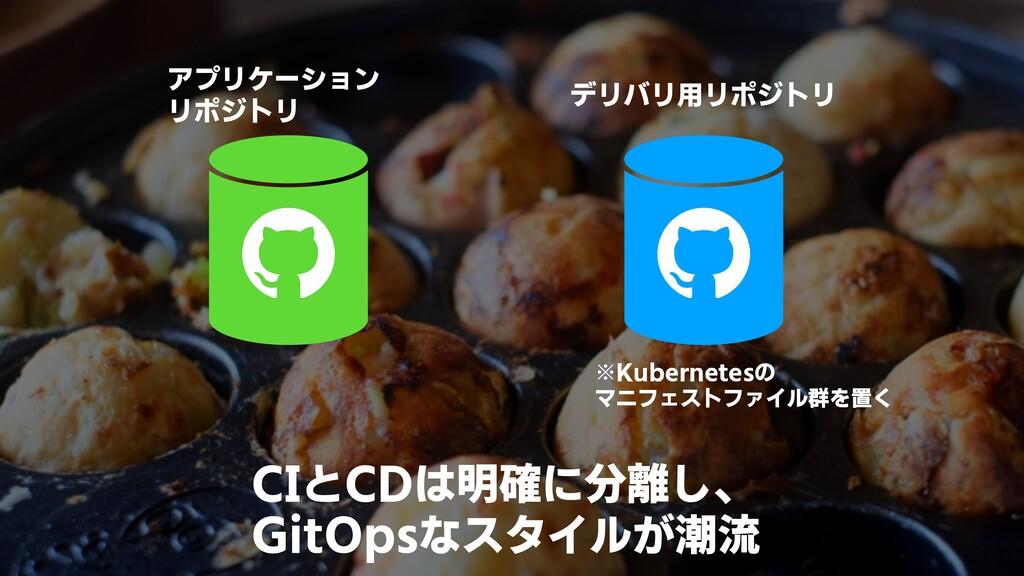 CIとCDは明確に分離し、 GitOpsなスタイルが潮流 アプリケーション リポジトリ デリバ...