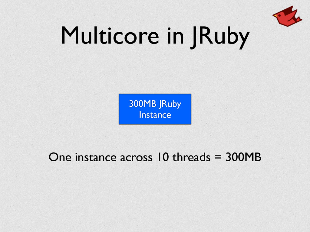 Multicore in JRuby 300MB JRuby Instance One ins...